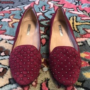 BCBeneration Maroon Tufted suede/leather loafer